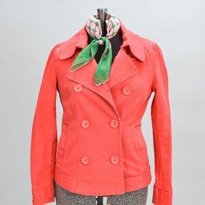 H&M DOUBLE BREASTED CORAL COTTON SPRING JACKET